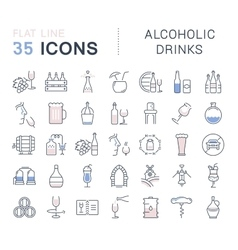 Set Flat Line Icons Alcoholic Drinks vector image vector image