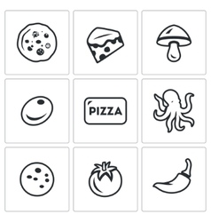Set of Toppings Pizza Icons Cheese vector image vector image