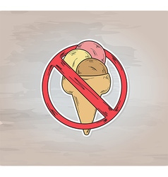 sign entry ban ice cream vector image vector image