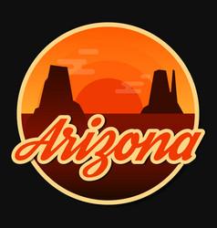 Travel arizona destination retro round icon vector