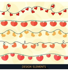 Valentines Day greeting card with garlands vector image vector image