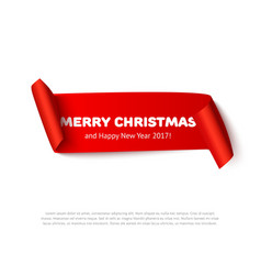 Very Merry christmas paper roll banner with vector image