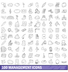 100 management icons set outline style vector image vector image