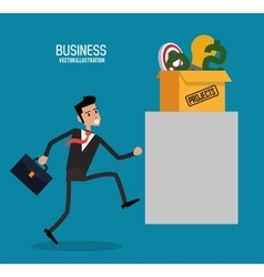 Businessman projects box graphic vector