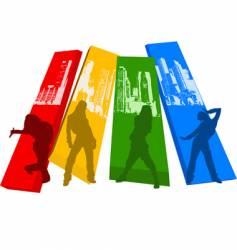 Rainbow color hip hop silhouette vector