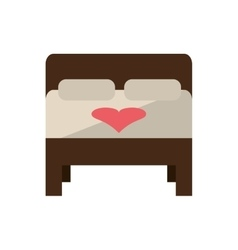Isolated bed with heart design vector
