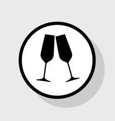 Sparkling champagne glasses  flat black vector