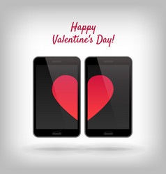 cell phones and hearts vector image
