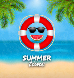 Summer time background with palm leaves lifebuoy vector
