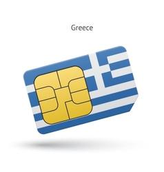 Greece mobile phone sim card with flag vector