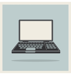 Laptop notebook computer vintage icon vector