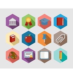 Back to School flat icons design set vector image
