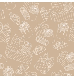 Beige seamless pattern with boxes of presents vector