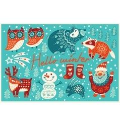 Hello winter card in cartoon style vector