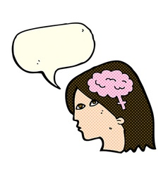 Cartoon female head with brain symbol with speech vector