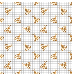 Pattern with cute red wasps on the chekered paper vector