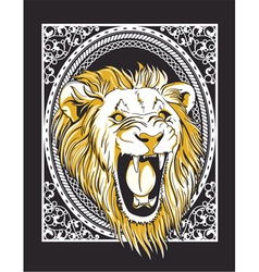 Frame with lion head vintage t-shirt design vector
