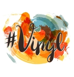 Hashtag vinyl lettering on spot background orange vector