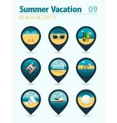 Beach activity pin map icon set Summer Vacation vector image vector image