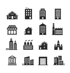 Building shop icon set vector image