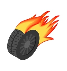 Burning wheel isometric 3d icon vector