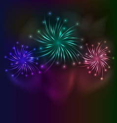 Colorful fireworks background vector image
