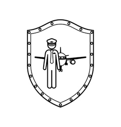 contour shield with pilot with aeroplane vector image vector image