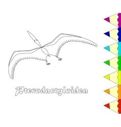 Dinosaur pterodactyloidea coloring page vector
