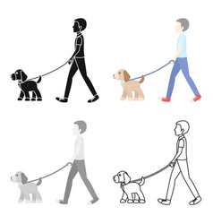Dog walk icon in cartoon style for web vector