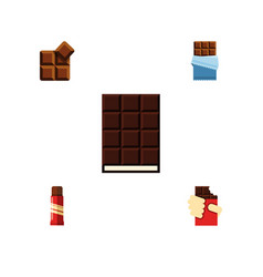 Flat icon cacao set of dessert bitter sweet and vector