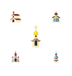 Flat icon church set of traditional structure vector