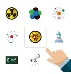 flat icon study set of irradiation danger theory vector image vector image