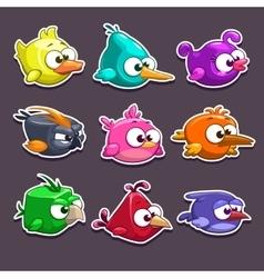 Funny cartoon birds stickers vector