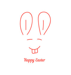 happy easter with thin line rabbit muzzle vector image