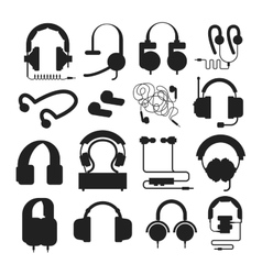 Headphones silhouette set vector image vector image