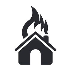 house burning icon vector image