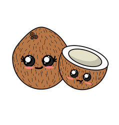 Kawaii cute tender coconuts fruit vector