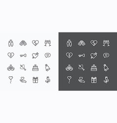Love and wedding icons line design vector
