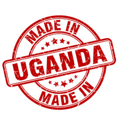 made in uganda red grunge round stamp vector image