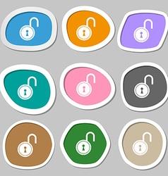Open lock symbols multicolored paper stickers vector