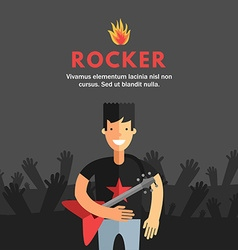 Rock musician playing electrical guitar flat vector