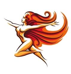 Running woman emblem vector