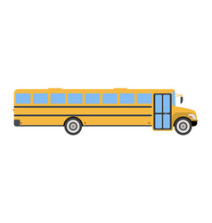 School bus flat icon and logo cartoon vector