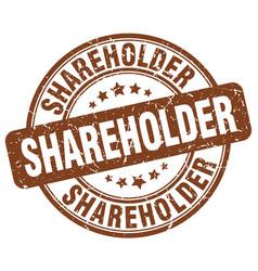 shareholder brown grunge stamp vector image vector image