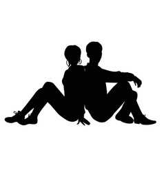 Silhouette of a guy and a girl vector