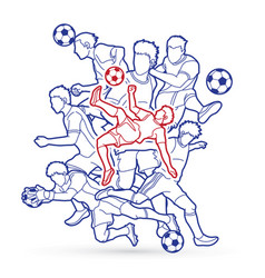 Soccer player team composition outline vector