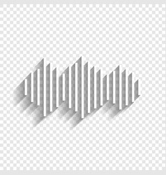 Sound waves icon white icon with soft vector