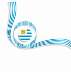 Uruguayan wavy flag background vector