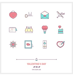 Valentine Day Line Icons Set vector image vector image