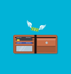 Wallet with money and credit card vector